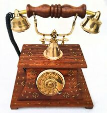 Vintage Wooden Telephone Victorian Nautical Brass Rotary Phone Old Fashioned