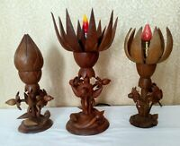 3 Vtg MCM Carved Wood Flower Table Lamps Mechanical Petal Shades Danish