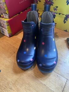 Joules Polka Dot Wellibobs Ankle Wellies Marked Size 5 2546