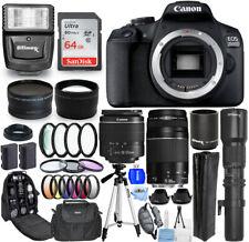 Canon EOS 2000D / Rebel T7 + 18-55mm IS II + 75-300mm III + 500mm/1000mm Bundle