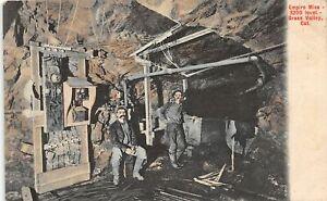 H65/ Grass Valley California Postcard c1910 Empire Mine Interior Miners 43