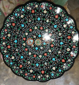 Marble Black Top Decorative Plate Multi Stone Fine Floral Marquetry Floral Arts
