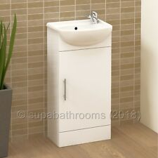 400mm Sienna Bathroom Cloakroom Vanity Unit - Gloss White
