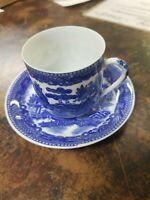 Geisha Lithophane DEMITASSE CUP AND SAUCER Blue Willow Japan