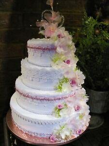 FAKE CAKES ARTIFICIAL 4 TIER WEDDING CAKE,TV STAGE PROP,BRIDEL SHOP DISPLAY