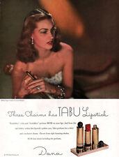 Dana Tabu Lipstick FORBIDDEN COLOR & PERFUME Golden Case 1947 Magazine Print Ad