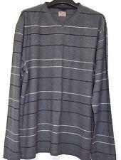 Jersey de manga larga para hombre de algodón Rayas Gris Top Tamaño Grande jersey Tejido