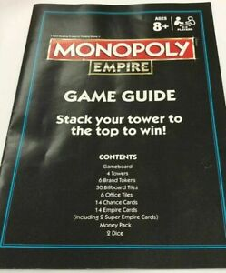 Very Gd Monopoly Empire Replacement Parts Pieces Instruction Manual / Game Guide