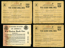 US WWII Lot of 7 Ration Books with Stamps Inside