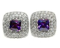 4CT Amethyst & Topaz 925 Solid Sterling Silver Earrings Jewelry, W-28