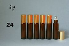 24x 10ml amber glass rollerball / roll on bottles w/ stainless steel roller ball
