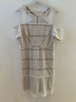 WHITE NUDE CROCHET DRESS 14 TOPSHOP SUMMER HOLIDAY IBIZA MARBS PRETTY GLAM SUN