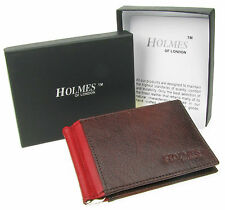 WALLET MENS BROWN REAL LEATHER BI-FOLD MONEY CLIP CREDIT CARD GIFT BOX UK NEW