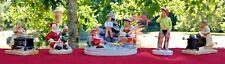 Sebastian Miniatures Lot (4) Figurines Vintage Santa, Will Rogers, Picnic, Cook