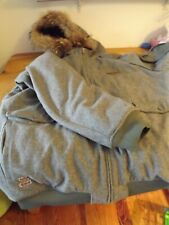 MENS ROCA WEAR WOOL WINTER COAT PARKA SZ 5XL GRAY quilted lining HOODED