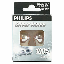 PHILIPS Silver Vision PY21W (581) Indicator Bulbs - TWIN PACK -12496SVS2