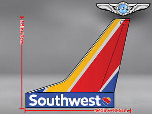 SOUTHWEST AIRLINES SWA AIRCRAFT TAIL WITH NEW LIVERY AND LOGO DECAL / STICKER