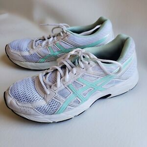 Asics Gel Contend 4 Running Shoe White Green Accents Womens Size 9 T765N