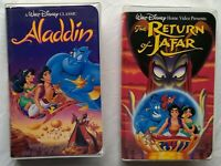 Aladdin + Return of Jafar Walt Disney VHS Tapes Lot Animated Family Movies