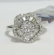 18ct White Gold Flower Style Round Brilliant And Baugett Diamond Dress ring