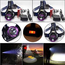2X 5000LM LED Headlight Headlamp Flashlight Torch + 2x18650 Battery + Charger