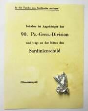German Badge Sardinienschild Sardinia Shield Italy Anzio WW2 Cassino Certificate