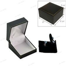 QUALITY JEWELRY SET BOX DROP EARRING BOX BLACK LEATHERETTE GIFT BOX JEWELRY BOX