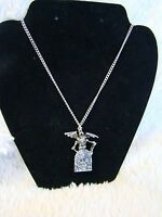 "Gothic Fashion Skeleton with Wings RIP Tombstone Silver Necklace Chain 10"" Long"