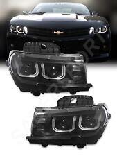 Black Dual Projector (Halogen Ver) Headlights w/ U-Halo for 2014-2015 Camaro