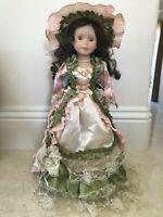 "21"" Porcelain Doll Hat & Umbrella Victorian Dress Brown Hair, Irish Green Eyes"