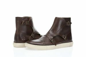 Frye Gates Triple Monk Men's buckled brown leather high tops sz. 10