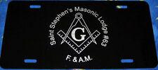 Masonic license plate Black aluminum auto tag custom personalized vanity