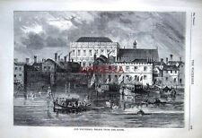 Antique Old London Engraved Print c1878: 'Old Whitehall Palace from the River'