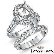 Oval Diamond Engagement Ring Wedding Bridal Set Platinum 950 Semi Mount 3 Ct.