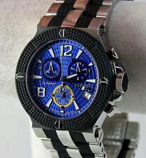 Renato Men's WildeBeast Watch, ETA G-10, Blue Laser Cut Dial, SS, Rubber Integr.