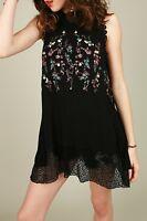 POL Boho Bohemian Embroidered Sleeveless Top Tunic Lace Black S M L