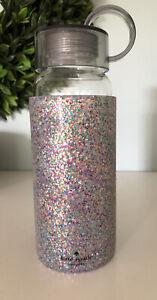 Kate Spade New York Glass Water Bottle Multicolor Glitter Rubber Sleeve 16oz