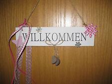 Schild Hänger Türkranz Türdeko Willkommen Frühling weiss rosa Türschild 25 cm Ho