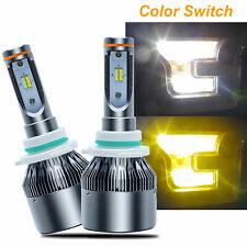 2pcs HID 6000K/3000K Dual-Color Switch LED H10 Hi/Lo Beam Headlight Bulbs Kit