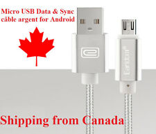3Ft/1M Braided Micro USB Sync cord argent charger cable for Android Samsung A023