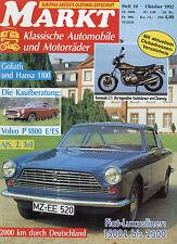 Markt 10/92 1992 Voisin Aérodyne C25 Fiat 2100 Kawasaki Z1 AJS 7R Volvo P 1800