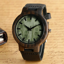 Wooden Watches Green Face Quartz Watch Men Nature Wood Bangle Genuine Leather