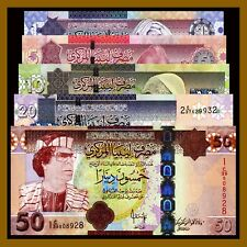 Libya 1 5 10 20 50 Dinars (5 Pcs Set), ND 2009-2012 P-71/74/75/77/78 Unc