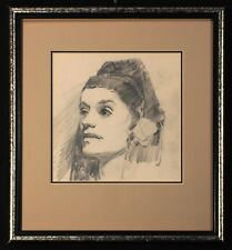 Original RALPH HOLMES Graphite on Paper, Portrait Sketch, Matted and Framed