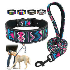 Padded Fashion Colorful Wide Dog Collar & Leash Set for Large Dogs Pit Bull SML
