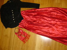 sz 8 Edwardian victorianTitanic lady 2 pc dress black jacket red skirt emb.bag