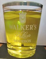 "WALKER'S DELUXE BOURBON  WHITE WRITING GOLD TRIM  GLASS  4 1/2"" TALL,  12 OZ"