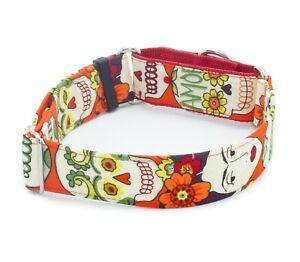 Frida Red Sugar Skulls Dog Collar  Buckle & Martingale 1.5 inch  2 inch width