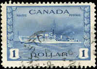 1942 Canada Used F+ Scott #262 $1.00 KGVI War Issue Stamp