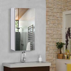 Wall Mounted Bathroom Mirror Glass Storage Cabinet Cupboard S/S Silver 300mm W